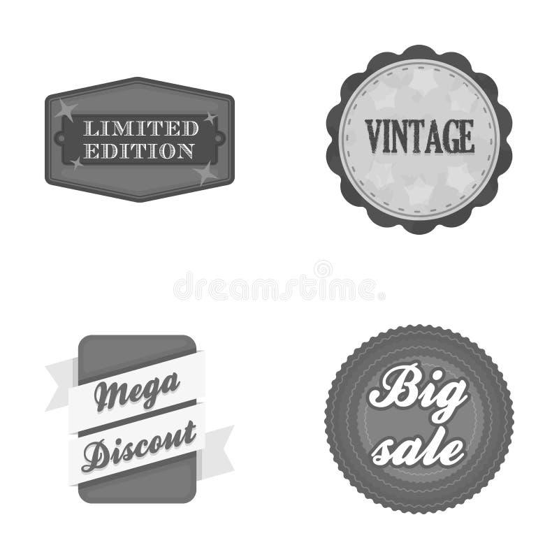 De beperkte uitgave, uitstekende, megadiscont, graaft verkoop Etiket, vastgestelde inzamelingspictogrammen in de zwart-wit voorra stock illustratie