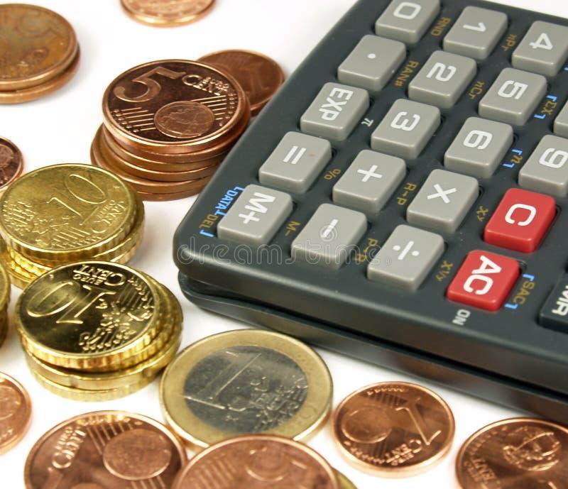 De berekeningen van het geld stock foto