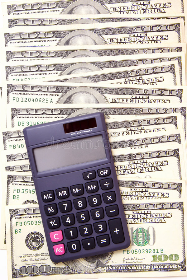 De Berekeningen van het Geld van het contante geld stock afbeelding