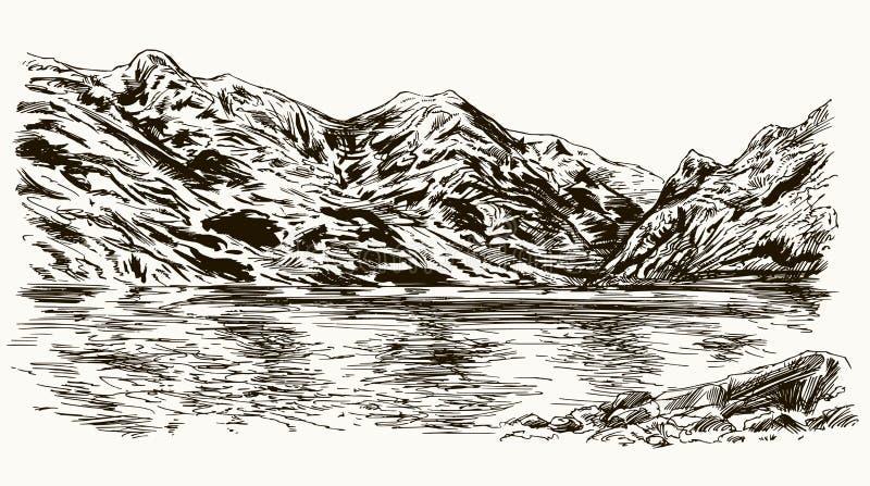 De berg bereikt landschap met meer een hoogtepunt vector illustratie