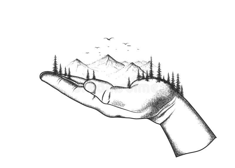 De berg en het bos worden gevestigd op een hand stock illustratie