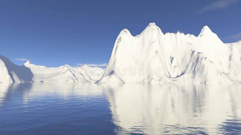 De berg en het water van de sneeuw royalty-vrije stock afbeelding