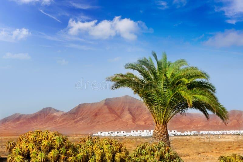 De berg van Ajaches in Lanzarote Punta Papagayo stock afbeeldingen
