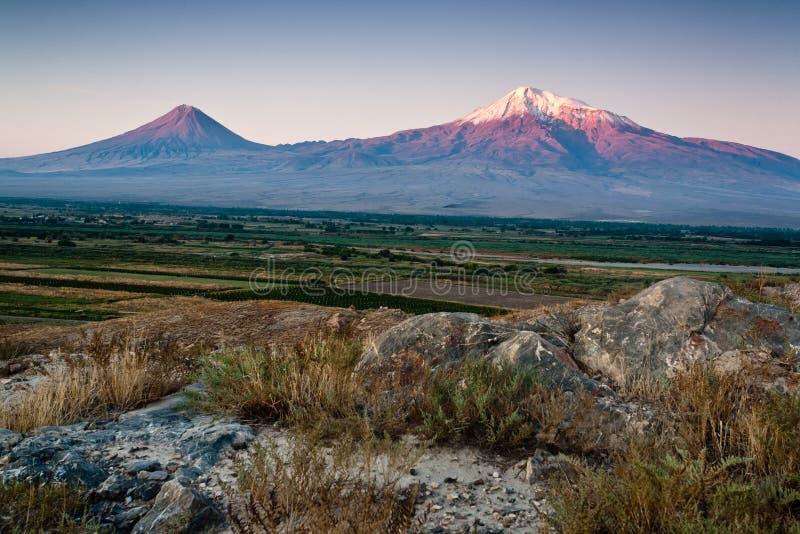 De berg van Ararat. stock fotografie