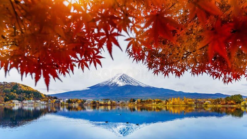 De berg van Autumn Season en Fuji-bij Kawaguchiko-meer, Japan stock foto