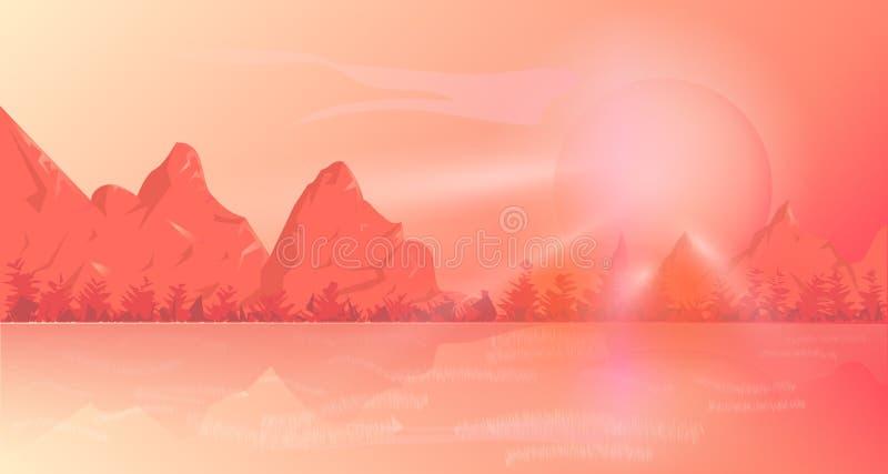 De bergachtergrond is een koraalkleur stock illustratie