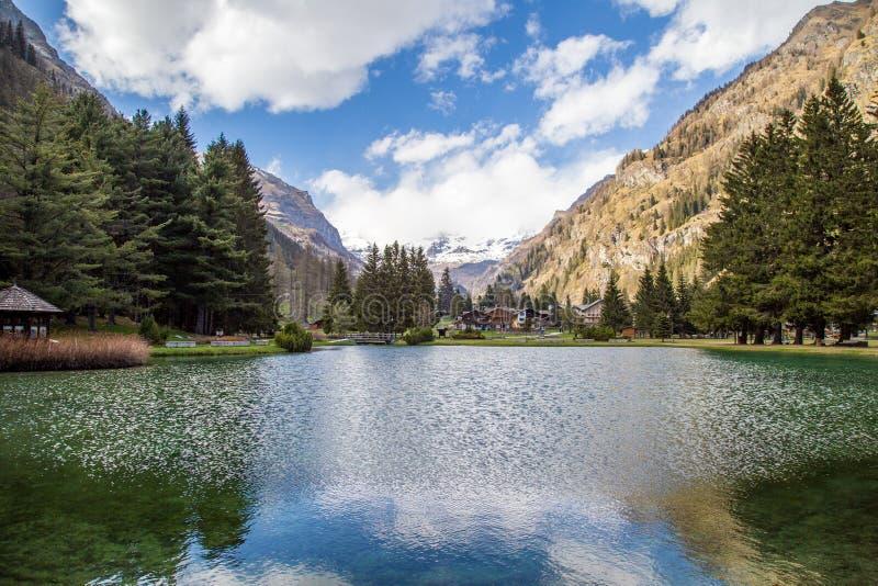 De bergen en de bomen denken in een koud meer in Gressoney na stock fotografie