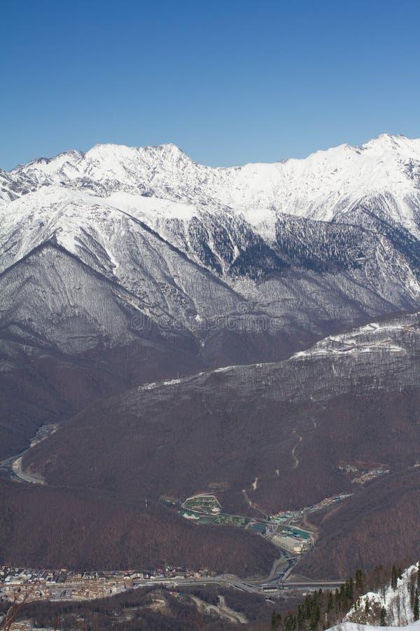 De bergen in Krasnaya Polyana, Rusland royalty-vrije stock afbeelding
