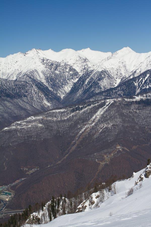 De bergen in Krasnaya Polyana, Rusland stock foto's