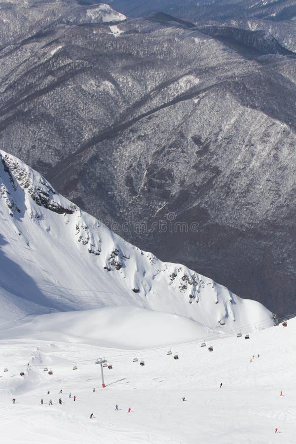De bergen in Krasnaya Polyana, Sotchi, Rusland stock foto