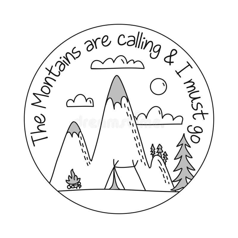 De bergen roepen en ik moet gaan stock illustratie