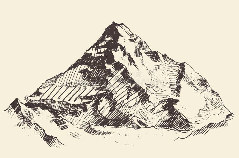 De bergen schetsen contouren graverend getrokken vector vector illustratie