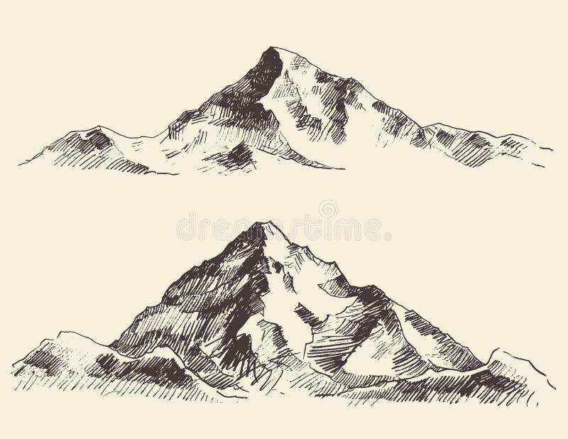 De bergen schetsen contouren graverend getrokken vector royalty-vrije illustratie