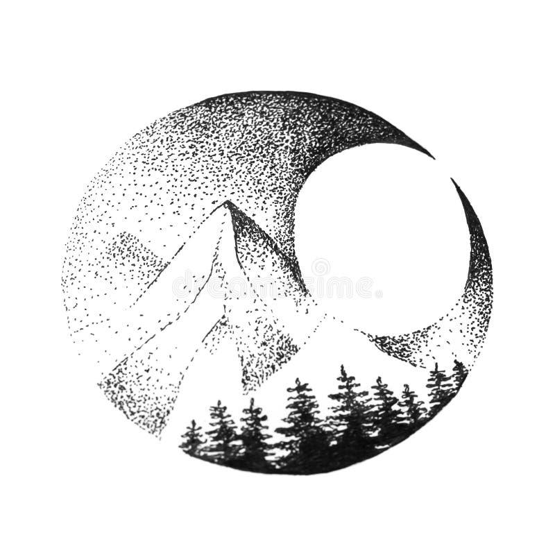 De bergen, de sparren en de maan zijn geschilderd met zwarte pen Sluit omhoog Geïsoleerdj op witte achtergrond vector illustratie