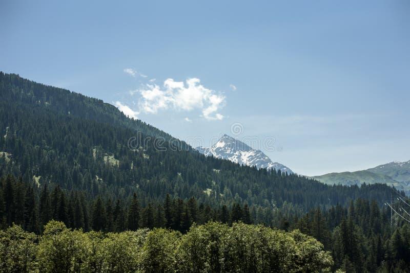 De bergen van de zomeralpen met duidelijke blauwe hemel; royalty-vrije stock foto's