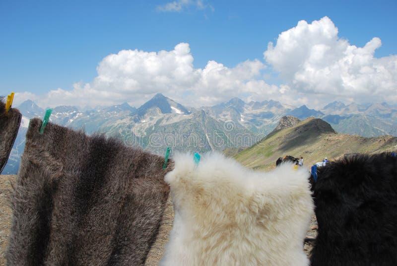 De bergen van Dombai en lokale handel royalty-vrije stock foto