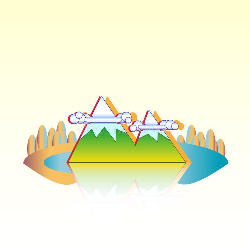De bergen van het eilandmeer en de bos Vectorillustratie van het eilandlandschap stock illustratie