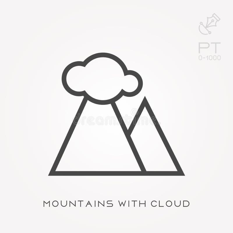 De bergen van het lijnpictogram met wolk stock illustratie