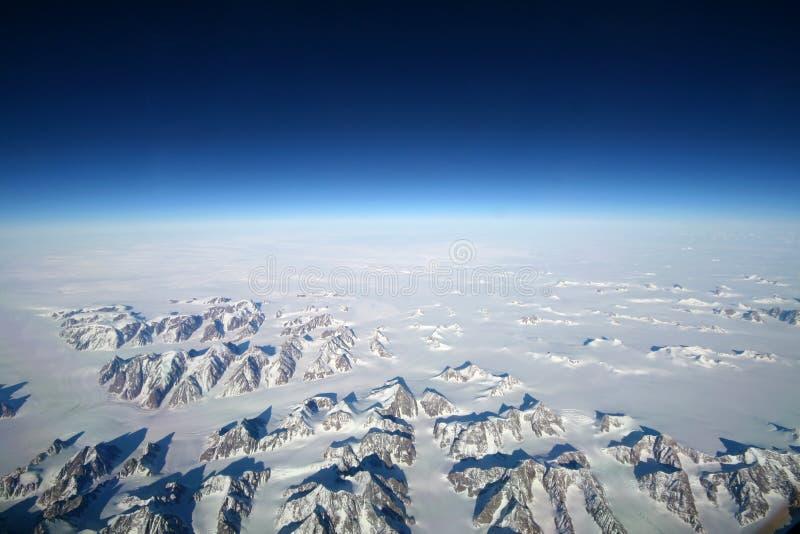 De bergen van IJsland van de hemel stock afbeelding