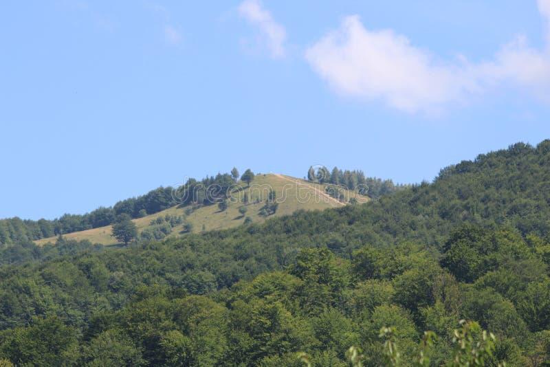 De bergen van de Karpaten zijn niet zo hoog maar zeer majestueus, en het water is het leven in deze bergen stock foto