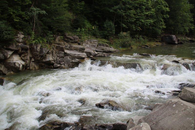 De bergen van de Karpaten zijn niet zo hoog maar zeer majestueus, en het water is het leven in deze bergen stock afbeelding