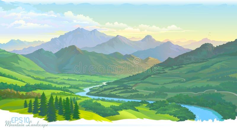 De bergen, de weiden, het groene landschap en de rivier Vector beeld stock illustratie
