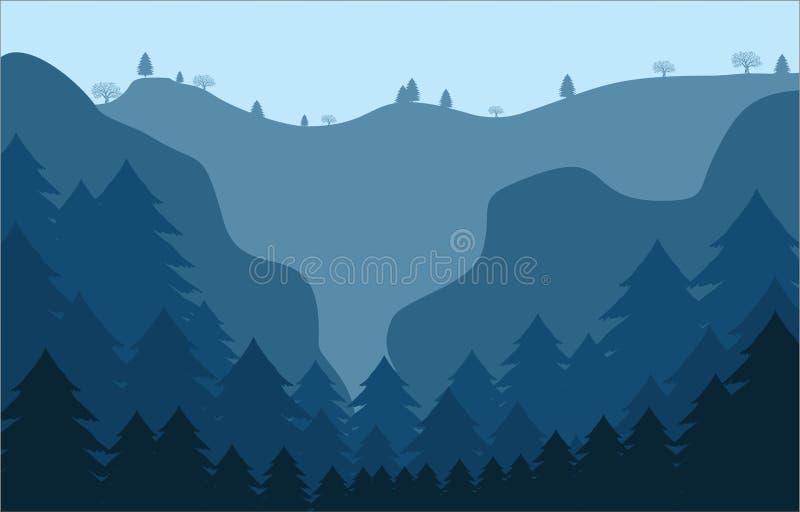 De Bergenachtergrond van het landschaps Vlakke Ontwerp stock illustratie