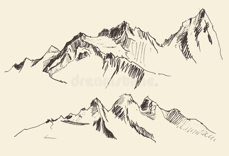 De bergencontouren die Vectorhand graveren trekken stock illustratie