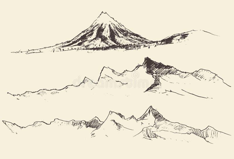 De bergencontouren die Vectorhand graveren trekken royalty-vrije illustratie