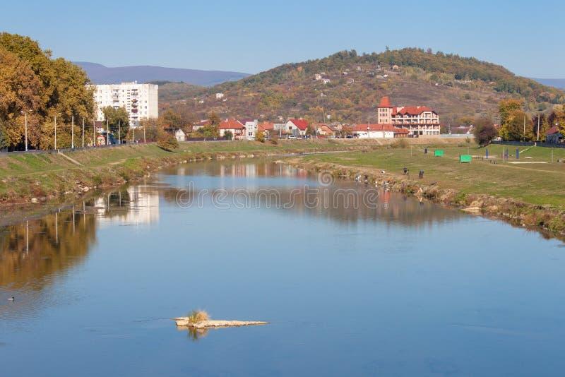 De bergenlandschap van de Karpaten in de herfst Latoricarivier, Mukachevo, de Oekraïne stock foto's
