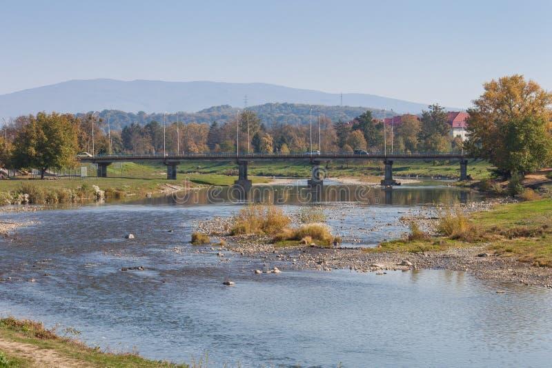 De bergenlandschap van de Karpaten in de herfst Latoricarivier, Mukachevo, de Oekraïne stock afbeelding