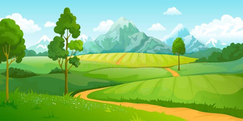 De bergenlandschap van de zomer Groene de heuvelsscène van de beeldverhaalaard met blauwe hemelbomen en wolken Vector landelijk p vector illustratie