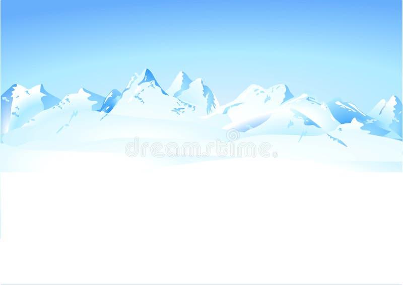 De bergenpanorama van de winter royalty-vrije illustratie