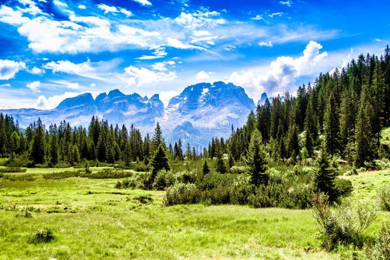 De bergketen van het Brentadolomiet stock afbeeldingen
