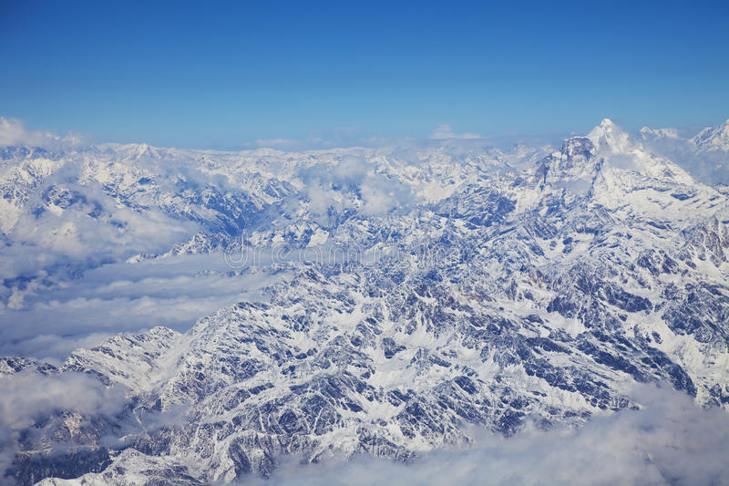 De Bergketen van Himalayagebergte van een Vliegtuig stock afbeelding