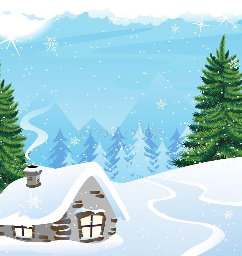 De berglandschap van de winter royalty-vrije illustratie