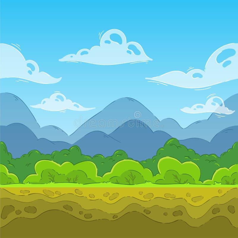 De berglandschap van de zomer Het naadloze landschap van de beeldverhaalaard vector illustratie