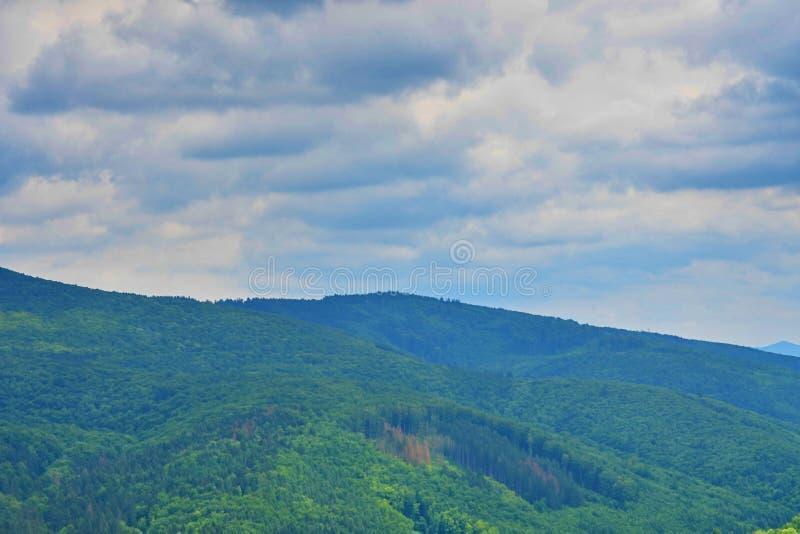De berglandschap van de zomer De zomerlandschap in bergen en de donkerblauwe hemel met wolken De Witte Karpaten, Tsjechische Repu stock afbeelding