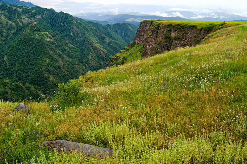 De berglente in bergen van Armenië stock foto