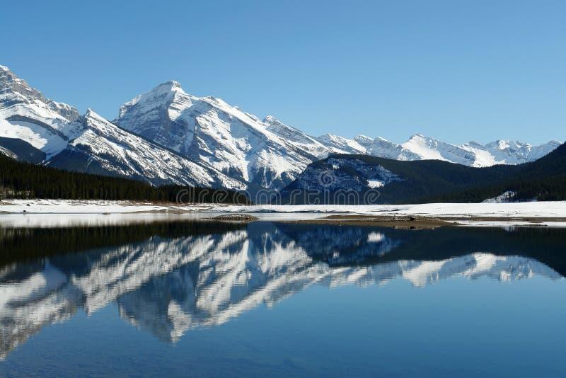De bergmeer van de lente stock afbeelding