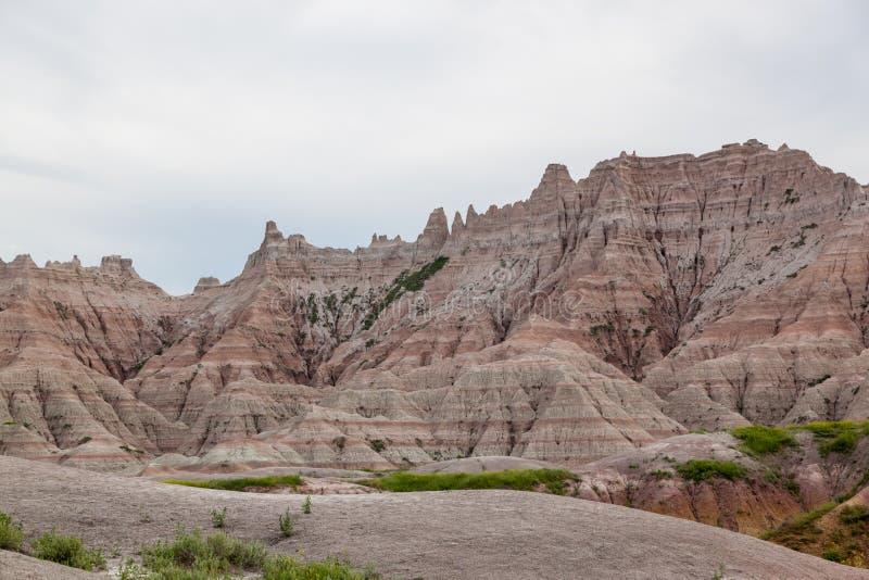 De Bergvormingen van het Badlands Nationale Park stock foto