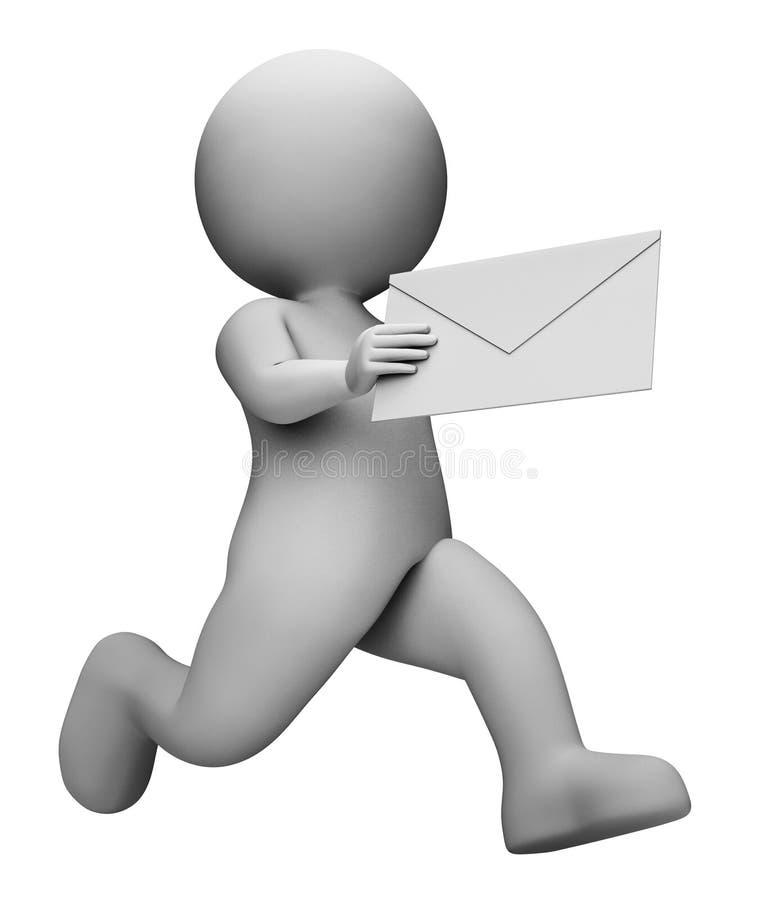 De berichtbrief vertegenwoordigt Communicatie Envelop en Post het 3d Teruggeven royalty-vrije illustratie