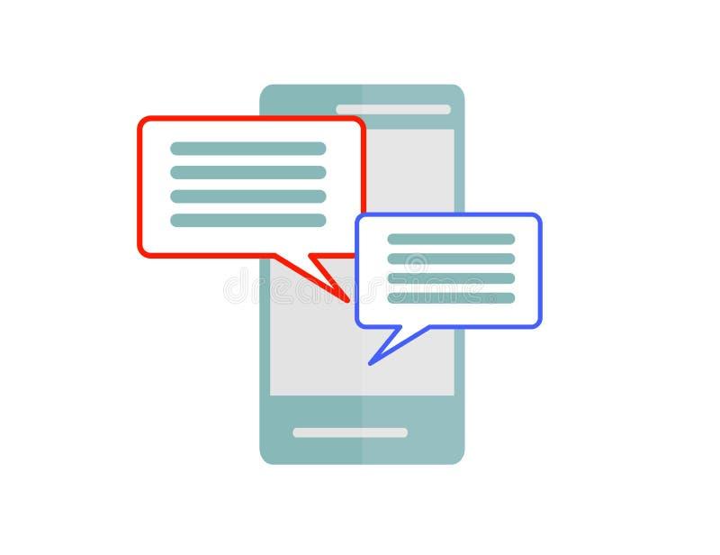 De berichten van het praatjebericht op smartphone vectordiepictogram op witte, mobiele telefoon worden geïsoleerd sms, het concep royalty-vrije illustratie