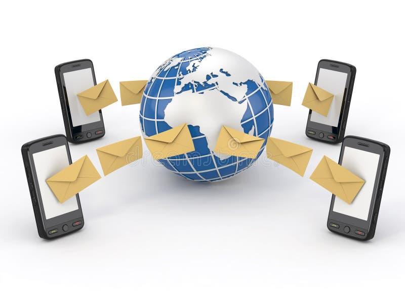De berichten van Sms, mobiele telefoon en aarde. Stemming SMS stock illustratie