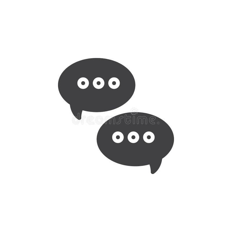De berichtentoespraak borrelt pictogram vector, gevuld vlak teken, stevig die pictogram op wit wordt geïsoleerd stock illustratie