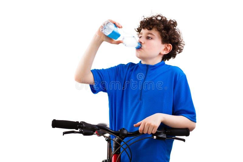 Het drinkwater van de fietser op witte achtergrond wordt geïsoleerd die royalty-vrije stock fotografie