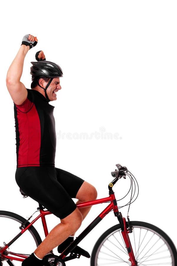 De Berijdende Fiets van de fietser royalty-vrije stock fotografie
