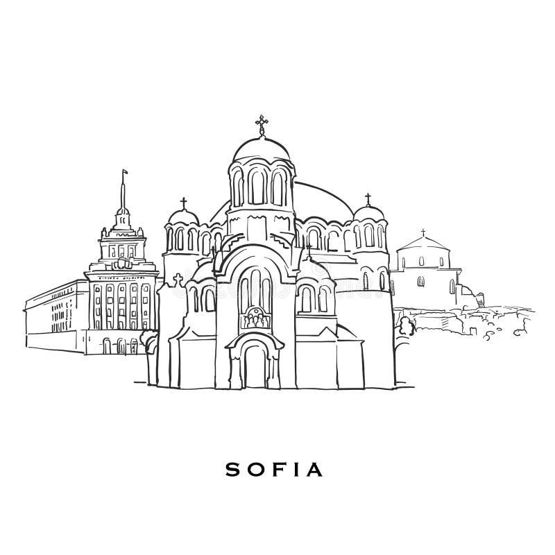 De beroemde architectuur van Sofia Bulgaria royalty-vrije illustratie
