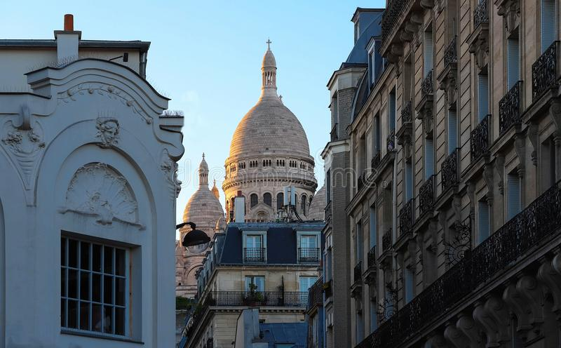 De beroemde basiliek Sacre Coeur, Parijs, Frankrijk royalty-vrije stock foto's