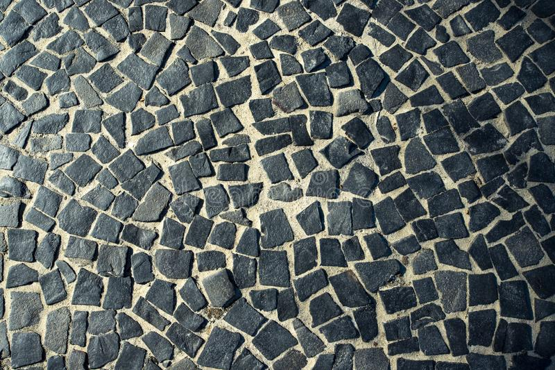 De Beroemde Copacabana-Bestrating van de Strandstoep in Rio de Janeiro, Brazilië Abstracte textuur van decoratie van de straten v royalty-vrije stock afbeeldingen